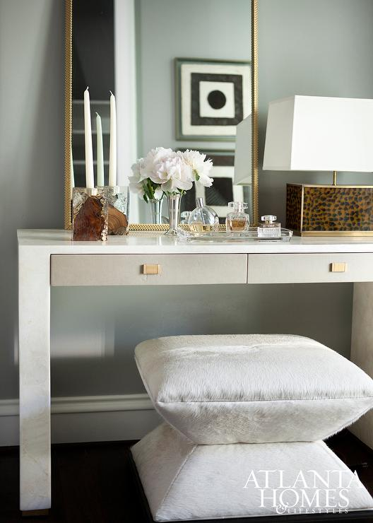 white-vanity-gray-drawers-art-deco-white-cowhide-stool