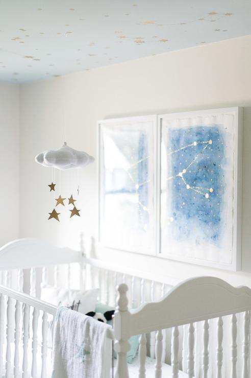 baby-jives-star-cloud-mobile-gold-blue-painted-nursery-ceiling
