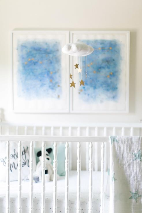 gold-stars-nursery-mobile-art-above-crib-white-and-blue-boy-nursery