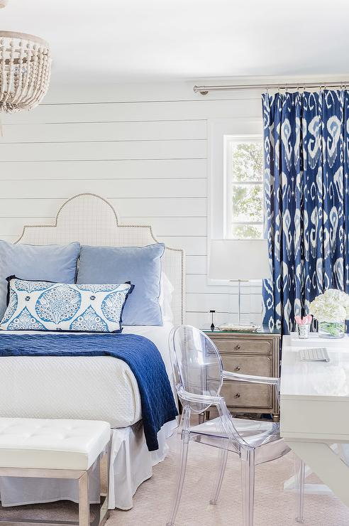 white-bedroom-blue-accents-blue-ikat-curtains-white-lacquer-desk